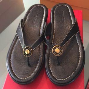 Miu Miu sandals thongs black leather